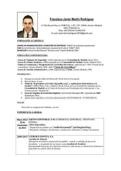 Modelo De Curriculum Vitae Para Vigilante De Seguridad Cv Francisco Javie