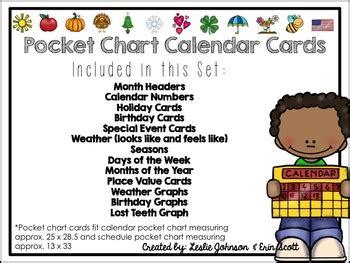 Pocket Chart Calendar Cards Printable