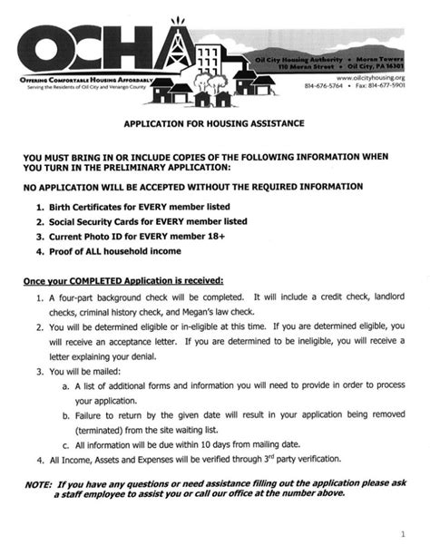 apply for housing apply oil city housing authority