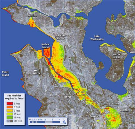 seattle inundation zone map impacts of sea level rise on seattle wa dan mahr