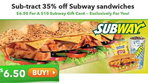 Subway Gift Card Deals - get 10 to subway for just 6 50