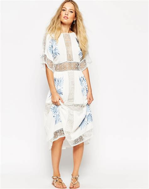 Dress Ola Midi Jersey Premium lyst asos premium crochet cutwork midi dress with blue embroidery in blue