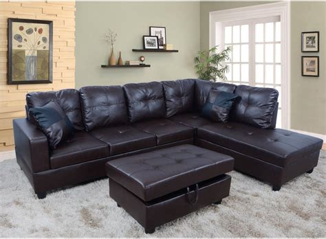 espresso leather sectional f093b espresso faux leather sectional set with storage