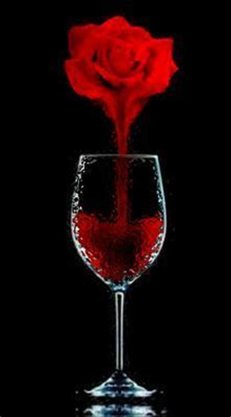 rose dripping blood into glass illusion graphics for