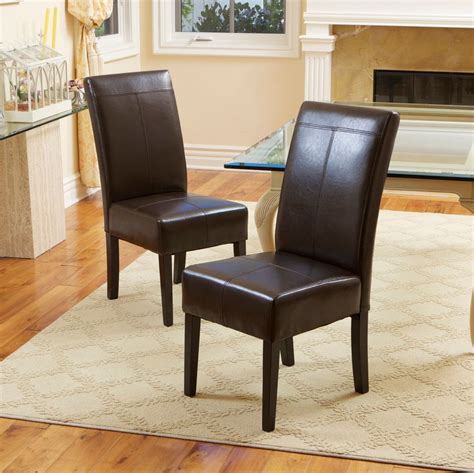 Leather Dining Room Furniture Set Of 2 Dining Room Chocolate Brown Leather Dining Chairs Ebay