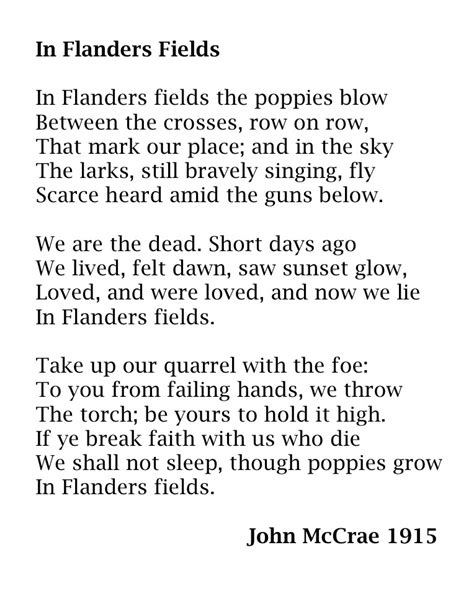 printable version of flanders fields lieutenant colonel john mccrae lynne rickards author