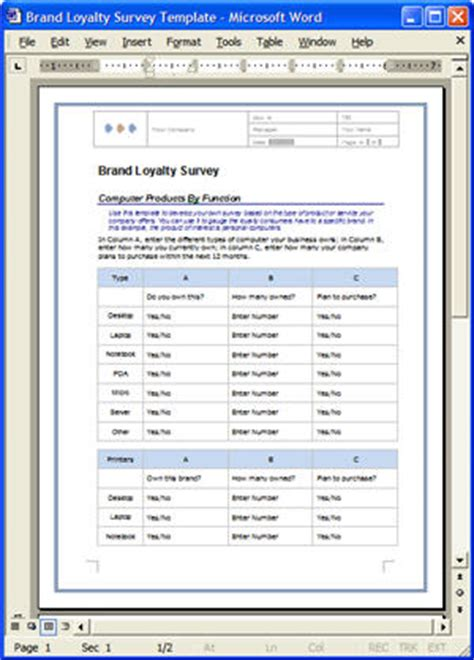 market research report template word free market research brand loyalty survey template 12
