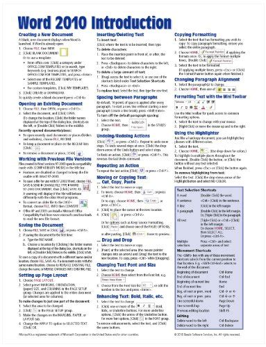 Reference Card Template Word by Microsoft Word 2010 Introduction Reference Guide