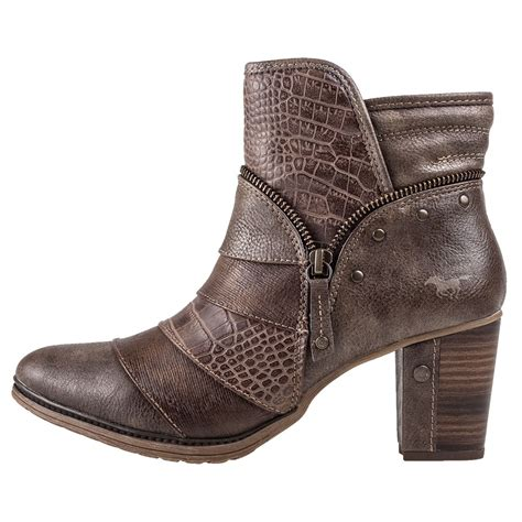 mustang heel ankle boot womens boots in brown