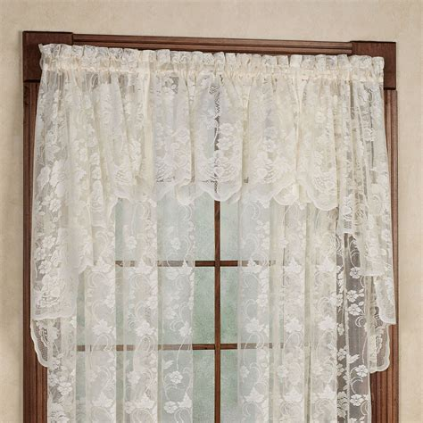 lace swag valance curtains floral vine lace swag valance pair 60 x 38 touch of class