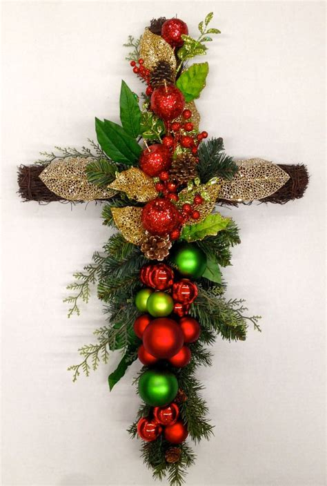 twig memorial bounty cross christmas holiday  season faux floral arrangement  http