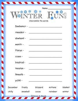 free printable winter word games winter word scramble word games pinterest winter and