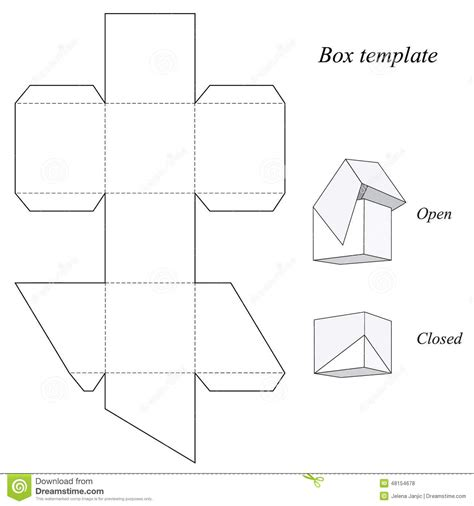 template for box with lid square box template with lid stock vector image 48154678