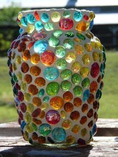 Wall Planter 6 Kantong Motif Peeble decorative stained glass mosaic vase on ceramic base made
