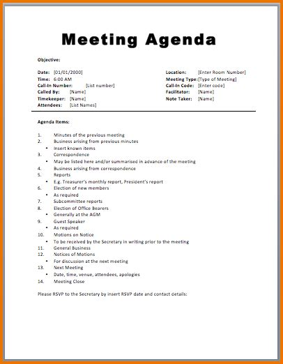 meeting format template 5 meeting agenda format divorce document