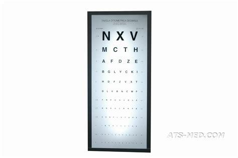 tavole oculistiche ottotipo luminoso tipo monoyer 3 metri tavola ottometrica