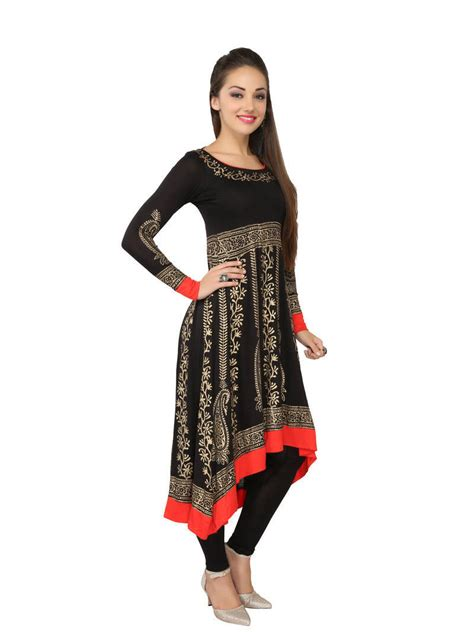kurti pattern anarkali buy kukn084 viscose long anarkali black kurti with gold
