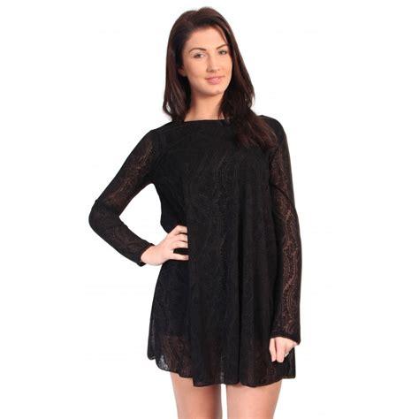 Black Damask Lace Swing Dress
