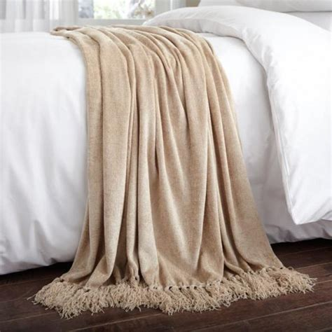 bed linen throws chenille throw in beige throws
