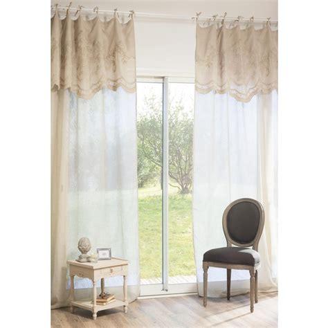 linen tie top curtains danceny linen tie top curtain 135 x 270cm maisons du monde