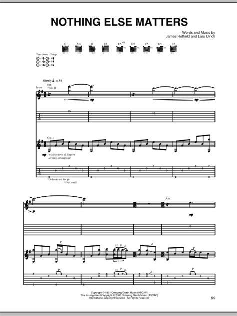 chords nothing else matters nothing else matters guitar tab by metallica guitar tab