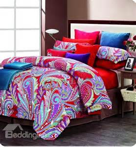 colorful feathers print 4 cotton bedding