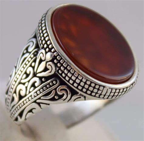 ottoman rings for men 925 sterling silver turkish handmade ottoman agate stone