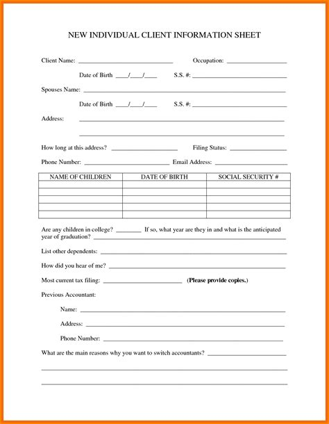 business information form template doc 13031678 customer information form template