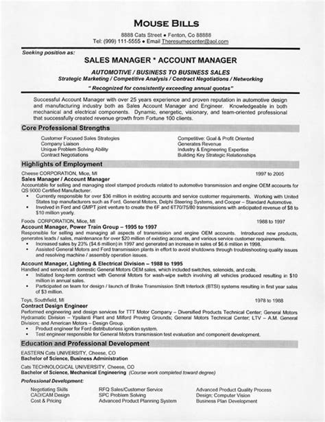 sle of resume format sle resume objectives for sales management