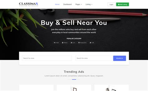 bootstrap  classified website template