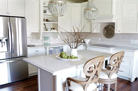 Small Kitchen Chandeliers Small Kitchen Island With Gray Beaded Chandeliers Transitional Kitchen