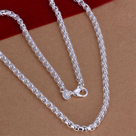 Twist Silver Necklace unisex sterling silver plated twist rope chain bracelet