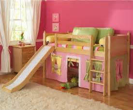 Playhouse low loft bed w slide by maxtrix kids pink yellow green on