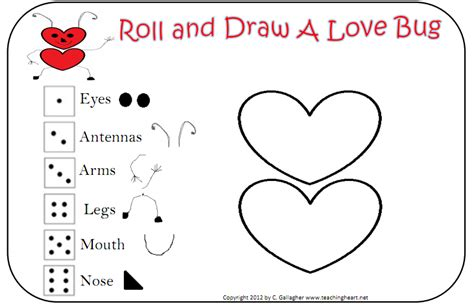 printable love dice be different act normal roll a love bug valentine