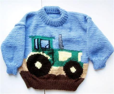 knitting pattern tractor jumper boys brand new hand knit handmade john deere by