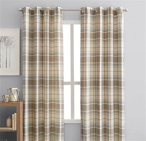 plaid curtains walmart hometrends reilly plaid 84 quot window curtain panel grommets
