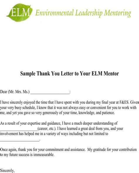 thank you letter to mentor for free formtemplate