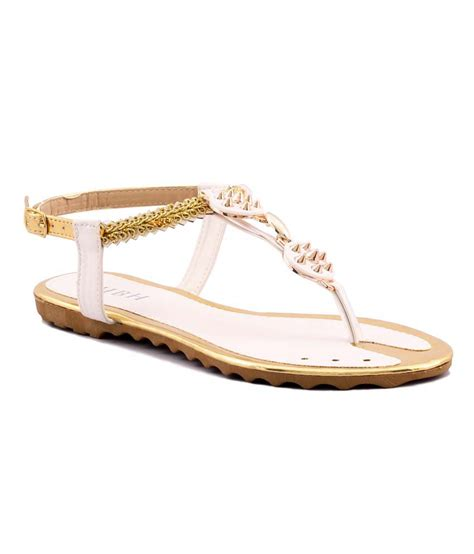 Faux Leather Flat Sandals willywinkies white faux leather flat sandals price in