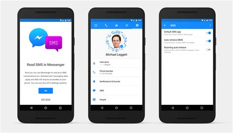 messenger for android incorporates sms in messenger for android app