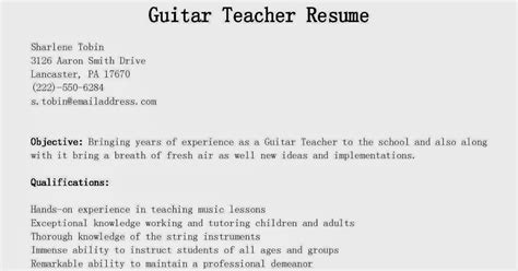 Guitar Instructor Sle Resume by Resume Sles Guitar Resume Sle