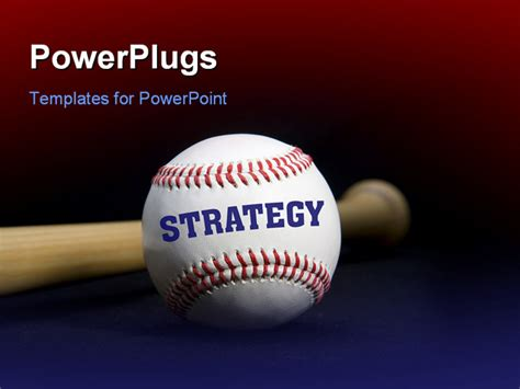 powerpoint template baseball with text strategy written