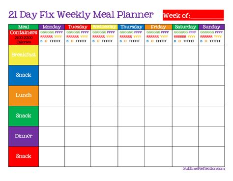 How To Create A 21 Day Fix Meal Plan Sublime Reflection 21 Day Fix Meal Plan Template