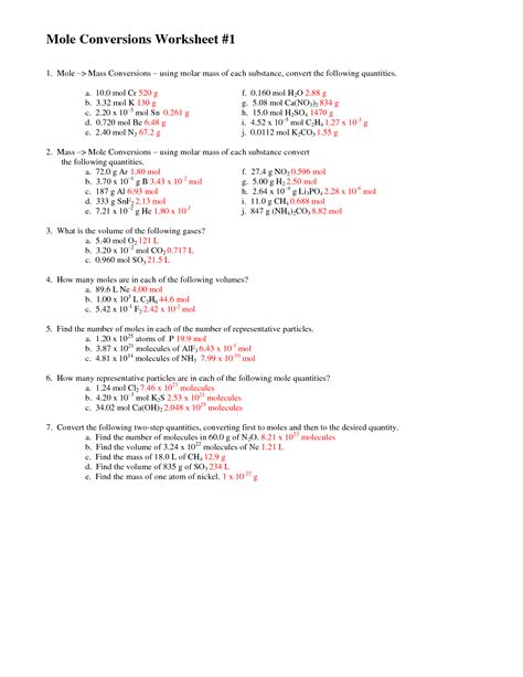 Worksheet Answers by 28 Mole Calculations Worksheet Answers Mole