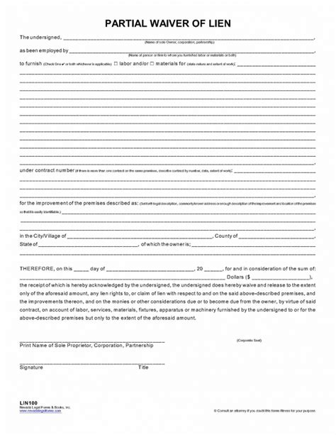 Sle Lien Release Form Resume Template Sle Partial Waiver Of Lien Template