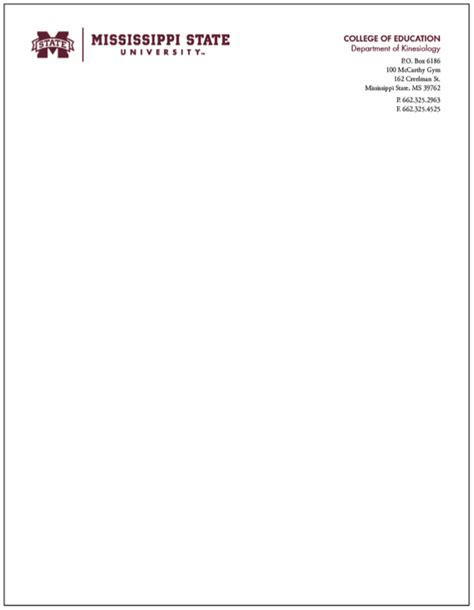 Letterhead Of College Office Of Affairs Mississippi State