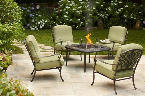 Firepit Table And Chairs Edington 5 Patio Pit Chat Set With Celery Cushions On Sale 560 Reg 799