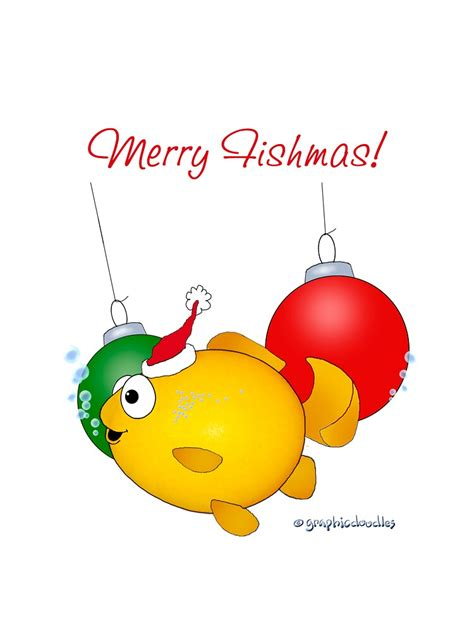 merry fishmas goldfish christmas  graphicdoodles redbubble