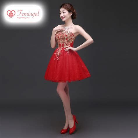 short gaun hong wei 2016 new model red toast clothing short married