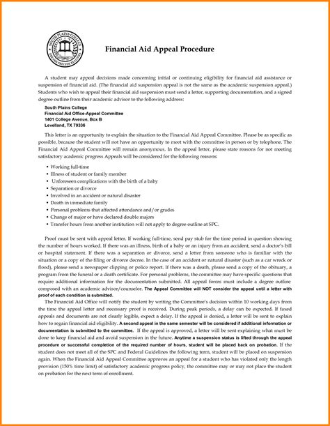 Financial Aid Appeal Letter Doc Financial Aid Appeal Letter Gplusnick