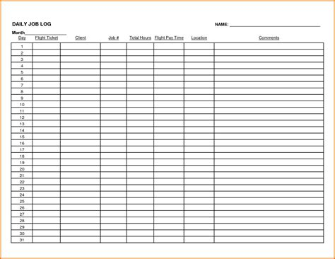 log sheet template work log sheet template pictures to pin on
